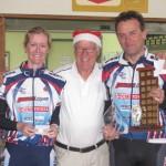 L-R:  Christine Page, Leen Nieuwenhoven (Club Santa), Brenton Thain