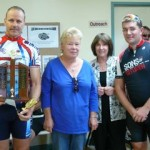 L-R:  Kevin Hannaford, Victory family members - Jan & Judy, Matt Stones