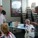 Bob Cotton, Chief Referee & Life Member, presenting Life Membership badge to Raey de Ross
