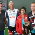 L-R:  Dave Kanas - 3rd (2 mins), John Crocker - 2nd (2 mins), Sheila Cotton, Jonathan Skogstad - 1st (Scr) Winner's time:  1:05:21