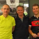 L-R:  Mike Davies, Bob Cotton (Sponsor), Mick Hardy